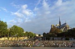 Notre dame cathedral and Pont de l'Archevêché Royalty Free Stock Photography