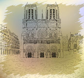 Notre dame cathedral - retro styled picture Stock Photos