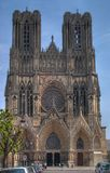 Notre-Dame Cathedral, Rheims. The front view (west facade) of Notre-Dame de Reims (Our Lady of Rheims) Cathedral, Rheims, France. The kings of France were once Royalty Free Stock Photo