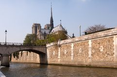 Notre Dame Cathedral & River Seine Royalty Free Stock Photo