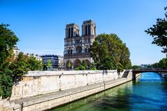 Notre dame cathedral from river Seine in Paris Stock Photography