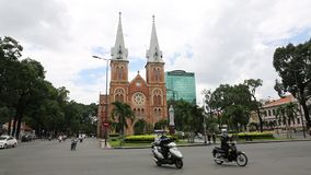 Notre Dame Cathedral ( Saigon Notre-Dame Basilica ) located in the downtown of Ho Chi Minh City stock footage