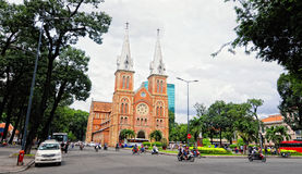 Notre Dame cathedral in Saigon Stock Photos