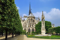 Notre Dame Cathedral, medieval Catholic church - landmark attraction in Paris, France. UNESCO World Heritage Site Royalty Free Stock Photo
