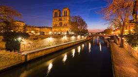 Notre Dame Cathedral and the Seine River at dawn. Paris, France Stock Images