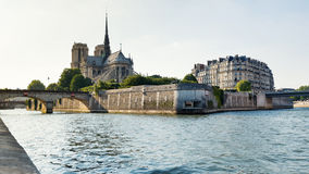 Notre Dame Cathedral and Seine river. Royalty Free Stock Photography