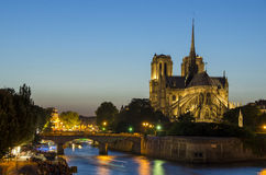 Notre Dame cathedral in Paris in the evening Royalty Free Stock Images