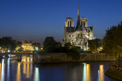 Notre Dame cathedral in Paris at night Stock Images