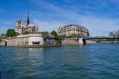 Notre Dame cathedral on the Seine river in Paris, France stock image