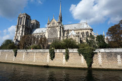 Notre Dame Cathedral on the Seine River Stock Images