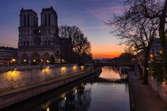 Notre Dame Cathedral and Seine River at sunrise, Paris, France Stock Images