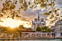 Notre Dame cathedral in spring time, Paris, France. Famous Notre Dame cathedral in spring time, Paris, France Royalty Free Stock Image