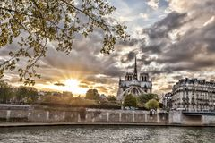 Notre Dame cathedral in spring time, Paris, France Royalty Free Stock Photography