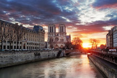 Notre Dame Cathedral at sunrise in Paris, France Stock Photography