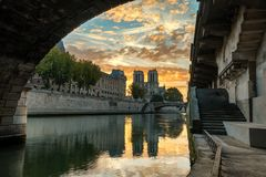 Notre Dame Cathedral at sunrise in Paris, France royalty free stock images