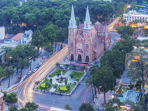 Notre Dame Cathedral in sunset. Ho Chi Minh city. Ho Chi Minh City has the most dynamic economy in Vietnam Royalty Free Stock Photography