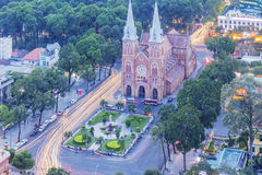 Notre Dame Cathedral in sunset. Notre Dame Cathedral  in sunset,  Ho Chi Minh city. Ho Chi Minh City has the most dynamic economy in Vietnam Stock Photo