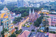 Notre Dame Cathedral in sunset. Ho Chi Minh city. Ho Chi Minh City has the most dynamic economy in Vietnam Stock Images