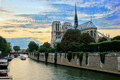 Notre Dame Cathedral sunset, Paris, France Stock Images