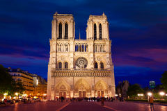 Notre Dame cathedral sunset in Paris France Stock Photos