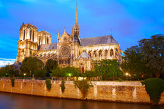 Notre Dame cathedral sunset in Paris France Stock Photography
