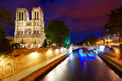 Notre Dame cathedral sunset in Paris France Stock Images