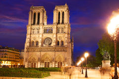 Notre Dame cathedral sunset in Paris France Stock Photo