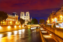 Notre Dame cathedral sunset in Paris France Royalty Free Stock Images