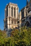 Notre Dame Cathedral Tower O la de Ile de menciona, Paris, França Fotos de Stock Royalty Free