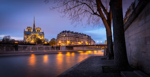 Notre Dame Cathedral, Twilight on Ile de la Cite, Paris. Illuminated Notre Dame de Paris Cathedral at twilight on Ile de la Cite with reflection of city lights Stock Photography