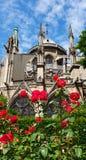 Notre Dame Cathedral und rote Rosen lizenzfreies stockbild