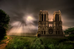 Notre Dame Cathedral Under Storm Royalty Free Stock Image