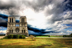 Notre Dame cathedral under storm. Y sky Royalty Free Stock Images