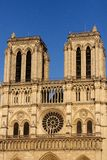 Notre Dame Cathedral West facade Cathedral of Our Lady of Paris, France stock photos