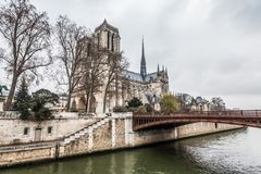 Notre-Dame Cathedral during winter Christmas. Holiday in France - Notre-Dame Cathedral during winter Christmas Royalty Free Stock Photo