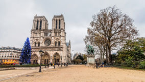 Notre-Dame Cathedral during winter Christmas Royalty Free Stock Photos