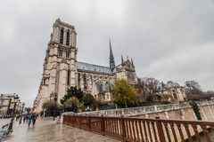 Notre-Dame Cathedral during winter Christmas. Holiday in France - Notre-Dame Cathedral during winter Christmas Stock Photo