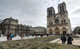 Notre Dame Chatedrale. In Paris, France royalty free stock photos