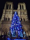 Cathedral of Notre-Dame by night. Notre-Dame in Christmas in Paris Stock Photos
