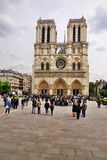 Notre Dame on a cloudy day Stock Images