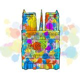 Notre Dame Colorful Sketch. Hand Drawn Vector Illustration, Paint Splatter Color Isolated on White Background. Business Travel and Tourism Concept with Modern Stock Image