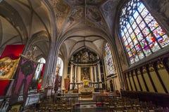 Notre Dame d'Anvers大教堂, Anvers,比利时内部  免版税库存图片