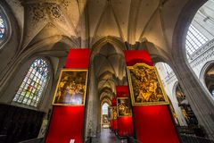 Notre Dame d'Anvers大教堂, Anvers,比利时内部  免版税库存照片