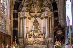 Notre Dame d'Anvers大教堂, Anvers,比利时内部  库存照片