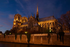 Notre Dame after Dark, Paris, France Stock Image