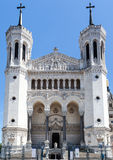 Notre Dame de FourviA rere利昂法国大教堂  库存照片