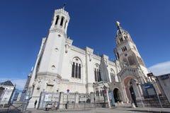 Notre Dame de FourviA rere,利昂大教堂  免版税库存图片