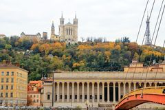 Notre Dame de fourviere, Lyon old town, France. View of the cathedral notre dame de fourviere in the lyon old town innthe moment of the autumn Stock Image