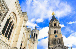 Notre dame de fourviere van Lyon, Frankrijk Stock Foto's