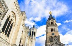 Notre Dame de Fourviere von Lyon, Frankreich Stockfotos